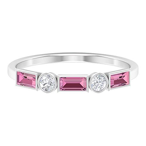 Rosec Jewels 10 quilates oro blanco baguette round-brilliant-shape H-I Pink Diamond Tourmaline