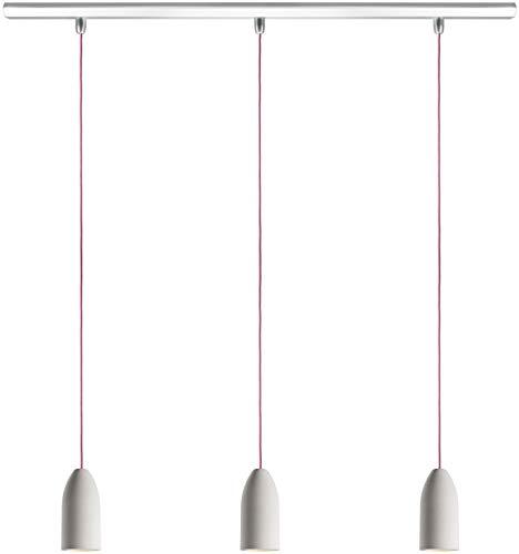Buchenbusch Urban Design Light Edition, Set 3 Lampade a sospensione in calcestruzzo con lampadina LED A+, stile industriale, cavo rosa fuxia