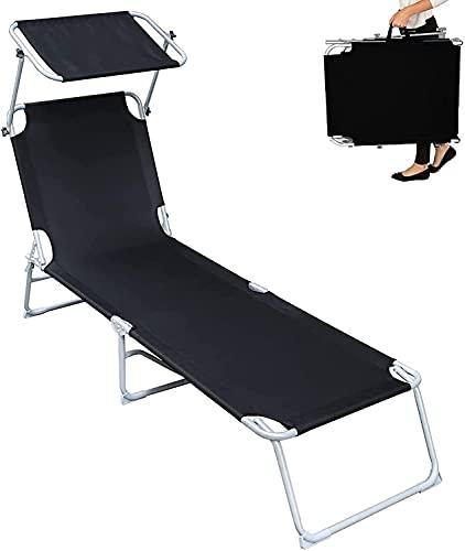FCPLLTR Ultralight Camping-Stuhl Folding Chaise Longue, einstellbare Sonnenliege mit Baldachin, Liegestuhl, Schwerer Sonnenbaden-Liegestuhl-Kinderbett für den Außen-Patio-Pool