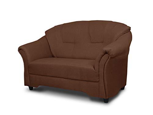 Sofa Alex 2-Sitzer - Couch 2-er, Couchgarnitur, Sofagarnitur, Polstersofa, Elegante Design Kollektion - Wohnzimmer (Braun (Sawana 26))