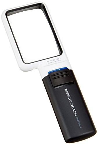 Eschenbach Optik Lupe Handlupe mit LED-Beleuchtung mobiluxLED Vergrößerng: 4x Linsengröße: 75x50mm