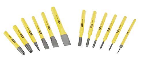 Stanley Meissel-, Körner- und Durchschläger-Set (12-teilig, Chrom-Vanadium Stahl, 1,5/2/3/4/5/6/8/10/12/16 mm) 4-18-299
