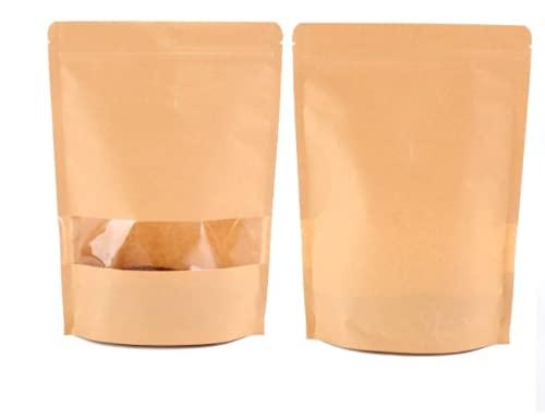 eBlue 50 bolsas de papel kraft para alimentos, reutilizables con ventana transparente, resistente al agua y a prueba de humedad, adecuadas para frutas secas y café semillas de té (20 x 14 cm)