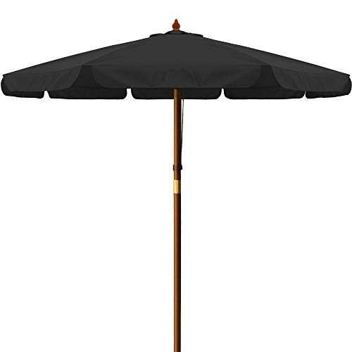 Deuba Garden Sun Parasol Wooden Patio Sunshade UV 40 Umbrella Canopy Balcony Terrace Beach Cafe Shade 4 Colours (Black)