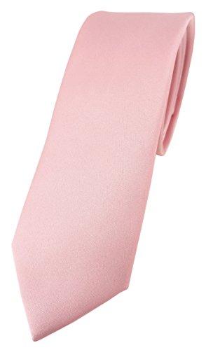 TigerTie schmale Designer Krawatte in rosa einfarbig Uni - Tie Schlips