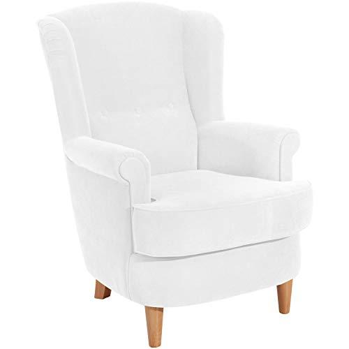 Max Winzer® Ohrensessel Kendra, creme (beige, weiß), Velourstoff, Romantisch, Retro, Landhaus, 73 x 89 x 92 cm