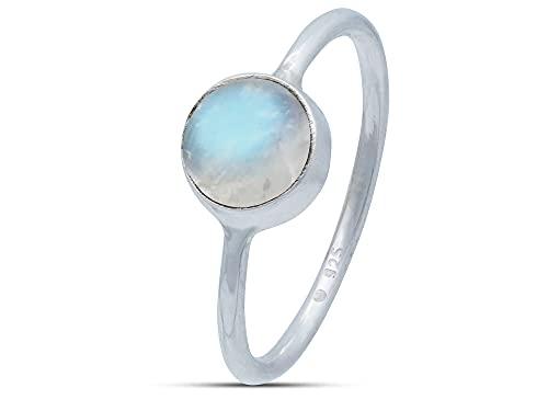 Ring Silber 925 Sterlingsilber Regenbogen Mondstein weiß Stein (Nr: MRI 78), Ringgröße:58 mm/Ø 18.5 mm