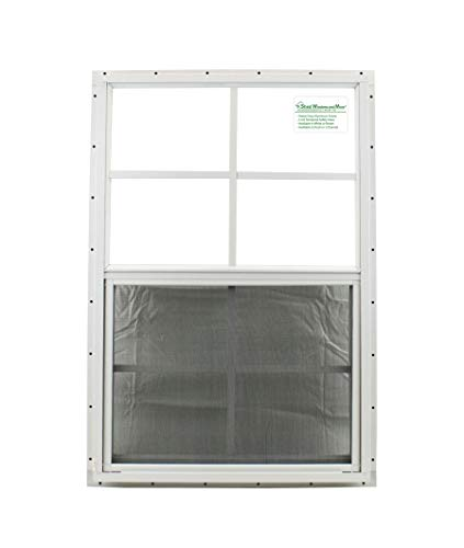 """24"""" X 27"""" Shed Window Aluminum Frame Safety/TEMPERD Glass Storage Sheds Playhouse Tree House (White J-Channel)"""