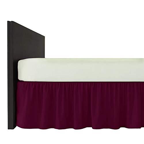 Mfabrics Bettvolant aus Baumwollmischgewebe, einfarbig, pflegeleicht, maschinenwaschbar, erhältlich in 20 Farben, 40 cm Rüschen, Baumwollmischung, pflaume, Doppelbett