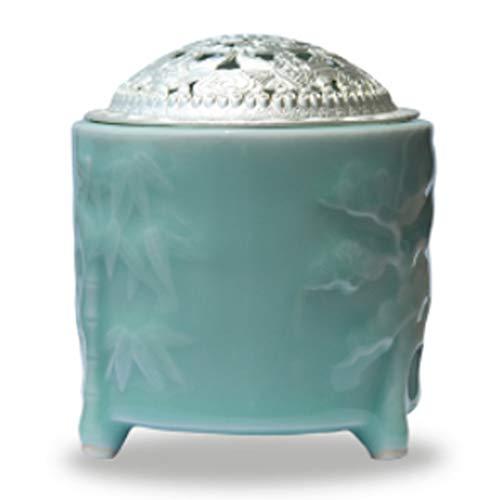 QQAA Aroma Diffuser,Geeignet FüR Den Haushalt Elektronischen Weihrauchbrenner, Keramik, Kann RegelmäßIg Eingestellt Werden, Cyan, Elektrische Heizung Aromatherapieofen