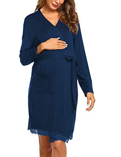 Ekouaer Women's Robe Maternity Sleepwear Bathrobe Pregnancy Nightgown Nursing Soft Kimono Robes with Pocket
