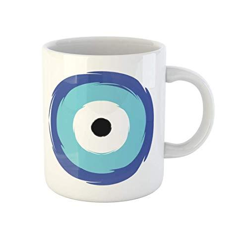 N\A Taza de café Grecia Griego Azul Ojo Malvado Símbolo de protección Amuleto Taza de té de cerámica Tazas Recuerdo para Familiares Amigos Compañeros de Trabajo