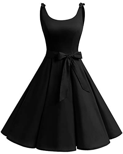 Bbonlinedress 1950er Vintage Polka Dots Pinup Retro Rockabilly Kleid Cocktailkleider Black 3XL