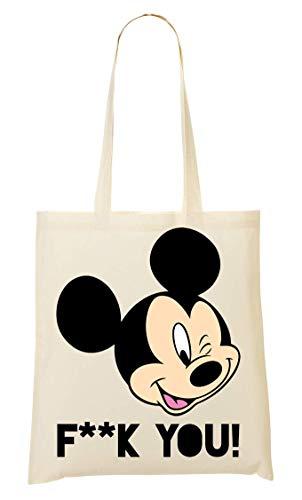 Mickey Mouse F**k You Tragetasche Einkaufstasche