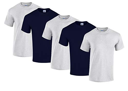 Gildan 5 Stück Heavy Cotton T-Shirt Herren Shirt S - 3XL Schwarz Weiß (L, 3Sportgrey/2Navy)