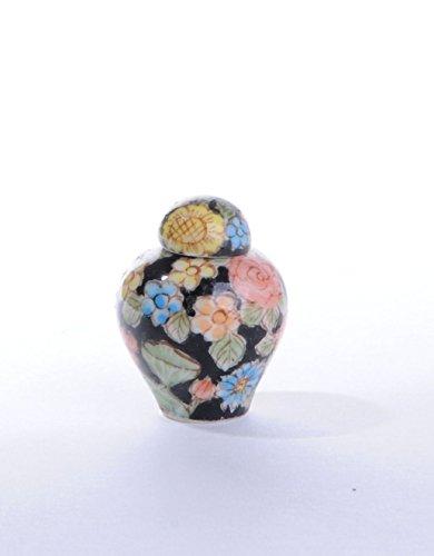 Deckelvase, Blumendekor