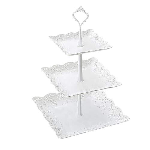 Fablcrew Expositor de plástico desmontable para tartas, 3 niveles, expositor para postres, cupcakes, bombones y fruta, para bodas, fiestas, cumpleaños, plástico, Carre, 24*37CM