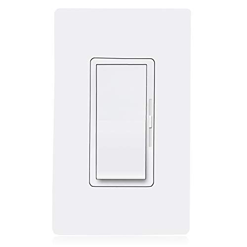 Maxxima 3-Way/Single Pole Vertical Slide LED Dimmer Switch Electrical light Switch 600 Watt max, LED Compatible On/Off Rocker Switch, Screwless Wall Plate Included