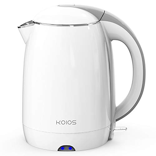 KOIOS Electric Kettle, 1.8L Double Wall Water Pot, Cool Touch 304 Stainless Steel Kettle, 1500W Fast Boiling Cordless Tea Kettle with Auto Shut-Off & Boil Dry Protection, BPA Free, White
