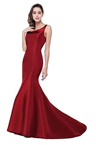 MisShow Damen Hochwertig Satin Hochzeitskleid Standesamt Kleid Satin Brautkleid Rückenfrei lang Burgundy 36