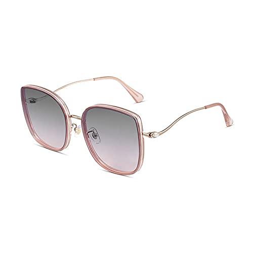 Gafas de sol para mujer de moda para conducción, antideslumbrante, 100% protección UV, lentes planas, gafas de sol, diseño elegante, marco cómodo (color rosa