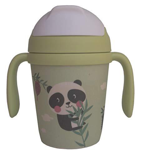 Bicchiere Bamboo Bambini con Cannuccia ♻ Brocca con Manici, Coperchio e Boccaglio in Fibra di Bambù 300 ML - Ideale Bebe (Infantile) - Bottiglia Materiale Eco,Bio,senza BPA - Lavabile in Lavastoviglie