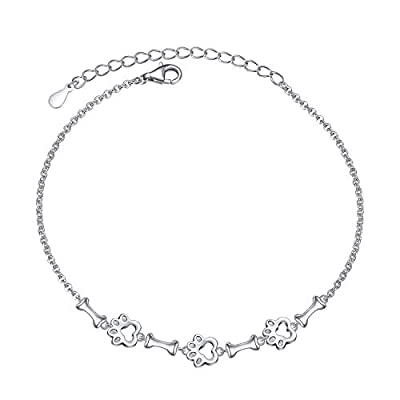 Amazon - Save 40%: Yearace S925 Sterling Silver Dog Paw and Bone Bracelet for Women Teen…