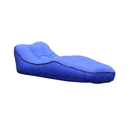 ZFY Selbstbeugte Camping-Lounger-Schlafsofa-S-förmiges Recliner Schlafluftmatratze aufblasbare Camp-Sitzsack-Picknick-Strandcouch-Stuhl (Color : Dark Blue, Size : One Seat)