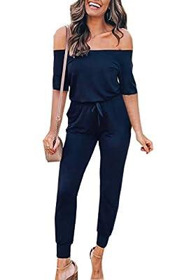 Angashion Women's Jumpsuits - Off Shoulder Half Sleeves Solid Color Drawstring Belt Long Pants Playsuit Romper with Pockets Navy Blue M