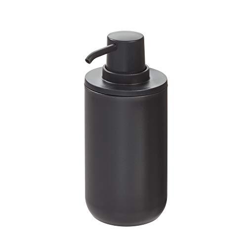 iDesign Dispensador de jabón, dosificador de jabón redondo en plástico para baño o cocina, bote dosificador recargable para jabón o loción de 355 ml de capacidad, negro