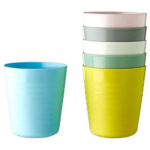 Ikea Kalas - Vajilla de plástico sin BPA – Cubiertos Platos Tazas – Pastel Rosa Turquesa Gris (vaso)