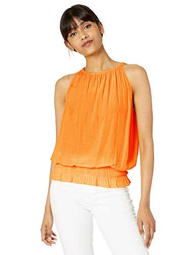 Ramy Brook Women's Sleeveless Lauren Top with Elastic at Waist, Candy Orange, Medium