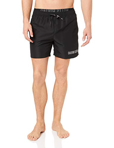 Calvin Klein Herren Badeshorts Medium Double Waistband , Schwarz (PVH Black BEH) , Large