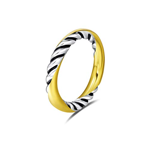 UNY Ring Wedding Band 3mm Twisted Cable Wire Designer Inspired Fashion Brand Antique Womens Jewelry 2 Tone