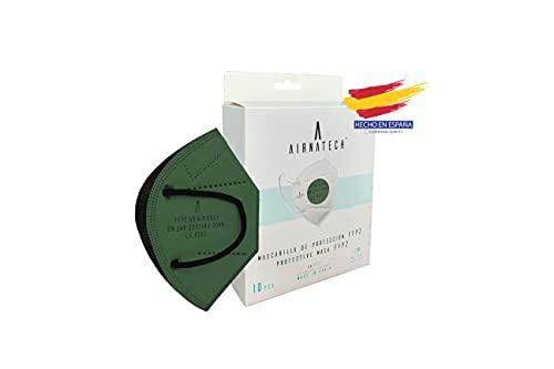 A AIRNATECH Mascarillas FFP2 Verde Botella pack de 10 unidades. Marcado CE0161 Homologadas - Normativa EN149: 2001+A1: 2009 - 5 Capas de 95% Filtración - Mascarilla ffp2 protección respiratoria