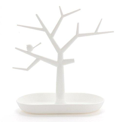 Yihiro 木の枝 ジュエリースタンド 高さ27cm トレイ27.5cm ピアス ネックレス ブレスレット 指輪 などを お洒落に収納 インテリア アクセサリースタンド プレゼント にも大人気(ホワイト)