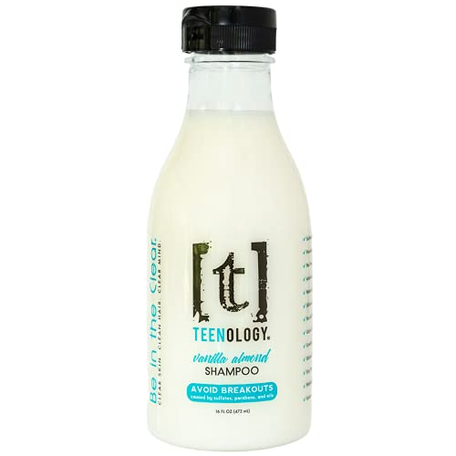 TEENOLOGY Shampoo for Teens - Avoid Forehead Acne and Breakouts - No Sulfates or Parabens, Noncomedogenic, Natural Botanical Extracts, 16 oz. (Vanilla Almond)