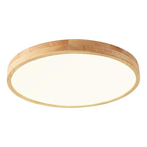 Deckenleuchte Holz Lampe Rund Holzlampe Eiche Deckenlampe Schlafzimmer Vintage Leuchte Decke Licht Retro Mit Led Rustikal Zimmerlampe Küchenleuchte (warmes Licht, 30 * 5cm 20W)
