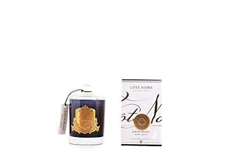 Cote Noire Blanc Garden – Jardin Blanc Bougie Parfumée dans Un Pot en Verre Noir Ltd Edition Gold Crest