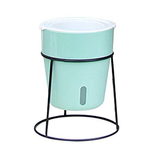 ZSooner Juego de maceta verde para el hogar, estilo nórdico, decoración para interiores con soporte de hierro, para salón, oficina, balcón, autoriego (13 cm), color verde