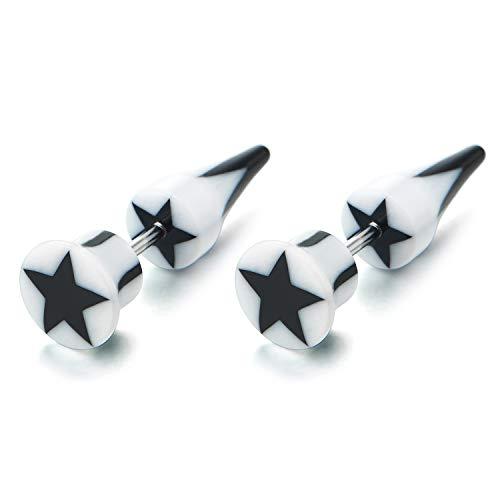 Negro Blanco Estrella Pentagrama Círculo Pendientes de Hombres Mujer, Pendientes Lobo, Pico Cierre Tornillo Falso Fake
