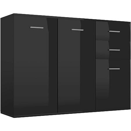 vidaXL Buffet Armoire Latérale Commode Meuble de Rangement avec 2 Portes et 3 Tiroirs Salon Chambre Maison Intérieur Noir Brillant 105x30x75 cm Aggloméré