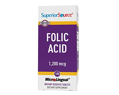 Superior Source Folic Acid Vitamin B9 1200 mcg Sublingual Instant Dissolve Tablets Under Tongue Melts, 100 Count