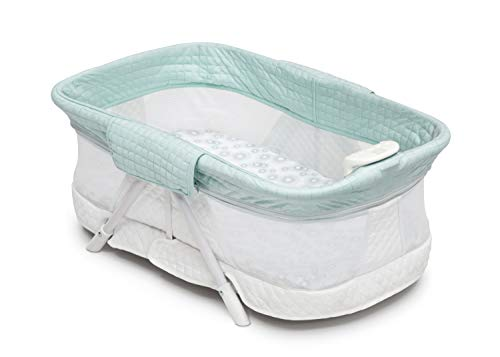 Simmons Kids Ultra-Compact Travel Bedside Bassinet -Folding Portable Crib, Aqua Geo