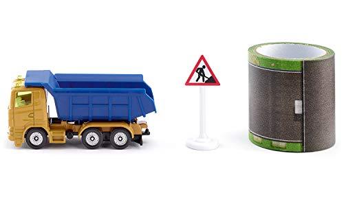 Siku 1600, Baukipper mit Tape, Metall/Kunststoff, Multicolor, Kippbare Mulde, 5 m Fahrstrecke