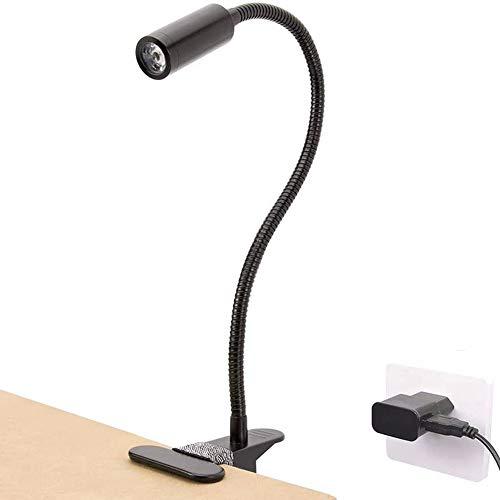 VOVOVO Lámpara-Led-Escritorio con Pinza Luz para Lectura Pinza 3W Flexo Brazo 360° Flexible Lampara de Mesa con Alimentado por USB 3 Colores Ajustables para Libro, Tablet