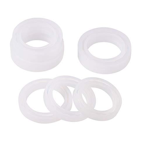 PandaHall Elite - 6pcs Silikonformen für Harz Schmuck Machen und Armbänder, weiß, 72~85,5 x 11~19,5 mm; Fertiges Produkt: 56~62mm
