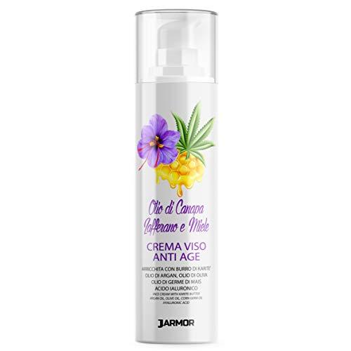 Mujer Crema Facial Antiarrugas Hidratante Ácido Hialurónico Azafrán Miel Karité Aceite de Argán Cáñamo 50ml