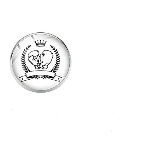 Guante De Boxeo Creativo Pin De Solapa Con Estampado De Dibujos Animados Arte Simple Foto Cabujón De Cristal Broches Gimnasio Deportes Boxeo Club Bolsa Insignias