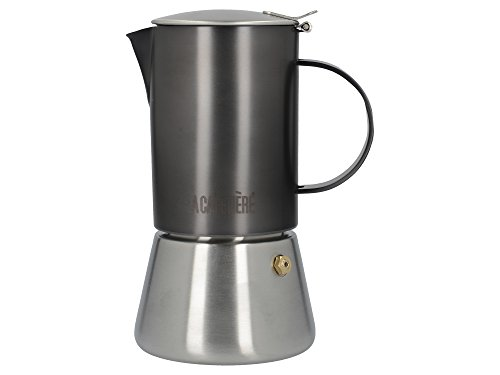 La Cafetière Edited FürInduktionskochfeld geeigneterEdelstahl-Espressokocher, 200 ml (4 Tassen) - Gun Metal
